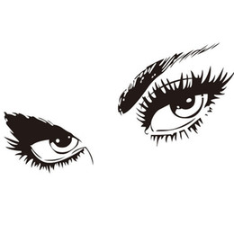 Large waLL decaLs eyes online shopping - Hot sale Sexy Black Eyes Wall Stickers Vinyl Art Home Decor Sizes Wall Decals Room decoration