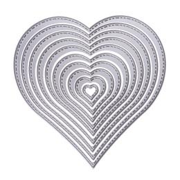 $enCountryForm.capitalKeyWord UK - 10pcs set Cutting Dies Heart Sewing thread Cutting Dies Stencil For DIY Scrapbooking Album Decorative Embossing Paper Card Craft