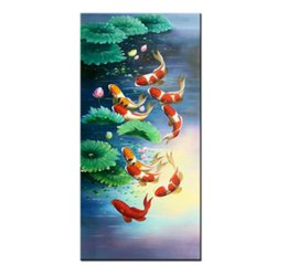 $enCountryForm.capitalKeyWord NZ - China wind Koi Art Wall Art Feng Shui Fish Oil Painting 100% Hand Painted Animal Modern Canvas Living Room Bedroom Home Decoration AFS024