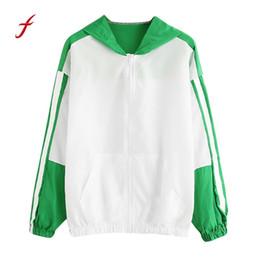 cddd956de9a0 2018 brand women clothing Women Long Sleeve Patchwork Thin Skinsuits Hooded  Zipper Pockets Sport Coat US CPMA HOT Dropshipping
