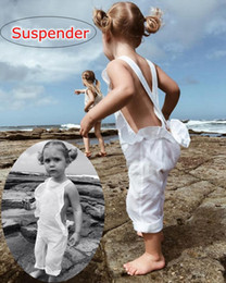 Wholesale Ins New Baby 100% Cotton Ruffles Overalls Kids Girls Fashion Backless Suspender Pants 2018 Kids Babies Summer Clothing 80-130cm for 0-6years