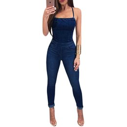 a5445b6cd85e5 Jumpsuit Jeans femme online shopping - Plus Size Denim Jumpsuits Elegant Overalls  Women Sleeveless Back Cross