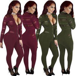 $enCountryForm.capitalKeyWord NZ - women long sleeve jumpsuit o-neck sexy romper elegant fashion skinny jumpsuit pullover zipper comfortable clubwear hot s6