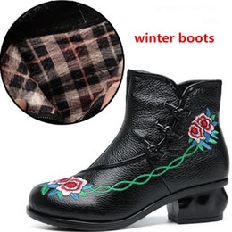 Warmest Winter Boots Canada - Noble elegant Embroidered Cowhide Leather Shoes Woman Ankle Boots 2018 Newest Warm Comfort thick heel Autumn and Winter Boots Snow Boots