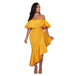 China 2018 Solid Off Shoulder Women Dress Asymmetrical Summer Dress Cascading Ruffles Evening Elegant Long Maxi Dress Vestidos cheap off shoulder asymmetrical evening dress suppliers
