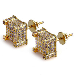 Chinese  Mens Hip Hop Stud Earrings Jewelry New Fashion Gold Silver Zircon Diamond Square Earrings For Men manufacturers