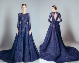 tulle evening dress elie saab 2019 - Navy Blue Elie Saab Evening Dresses Lace Formal Prom Dresses Gowns With A Line Lace Applique Beads Crew Neck Long Sleeve