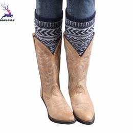 women red knee boot 2019 - DOUDOULU Fashion Spring Summer Sexy Women Jacquard Knitted Leg Warmers Socks Boot Cover Drop shipping cheap women red kn