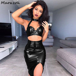 b33e074b72c Maoxzon Women s Sets PU Leather Sexy Club Slim Halter Crop Tops and Skirts  2 piece Set Bodycon Bandage Dress Two piece Suits XL
