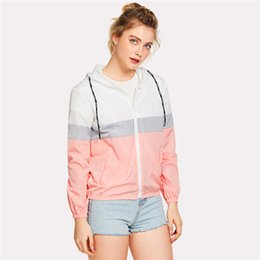 elastic waist jacket 2020 - Regular SweatyRocks Color Block Elastic Waist Drawstring Jacket New Fashion Multicolor Zipper Woman Clothing Ladies Spri