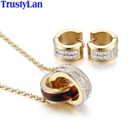 Parure jewelry online shopping - TrustyLan Gold Color Bridal Wedding Jewelry Sets Stainless Steel With CZ Necklace Earrings Jewellery Set Parure Bijoux Femme
