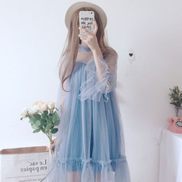 Japanese Dresses Canada - Korean Hollow Out Lace Mesh Dress Female Ruffles Fairy Dresses Japanese Vintage Sweet Stitch Voile Lolita Soft Pink Tutu Dress
