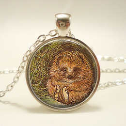 Fairy Tale Pendants Wholesale NZ - Mr Pricklepin Pendant Hedgehog Glass Cabochon Necklace Fairy Tale Story Book Beatrix Potter Jewelry Christmas Gift Children