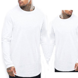 $enCountryForm.capitalKeyWord Australia - New hot sell Trends Men T shirts Super Longline Long Sleeve T-Shirt Hip Hop Arc hem With Curve Hem Side Zip Tops tee free shipping