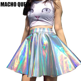 Silver Holographic Mermaid Costumes Women Vinyl Skirt Festival Clothes  Laser Hologram Foil Fabric Skater Skirt Circle Mini 524ba0fc21f8