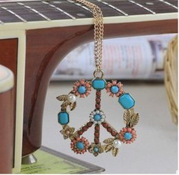 Anti Flower NZ - Long Chain Choker Pendants Necklaces Sweater Anti-War Peace Symbol Pendant Necklace Anti-War Flower Necklace