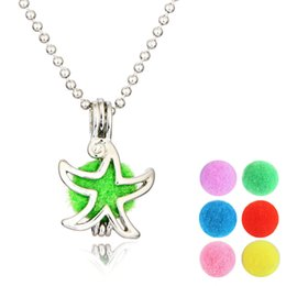 $enCountryForm.capitalKeyWord Australia - Sea Star Sliver Color Necklace Locket Aromatherapy Essential Oil Diffuser Hollow Necklace perfume pendant Flower-Hollowed Factory Wholesale