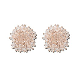 54268d113 Han Guodong's gate, temperament, women's wear, earrings, simple, fresh  crystal, round ear studs.