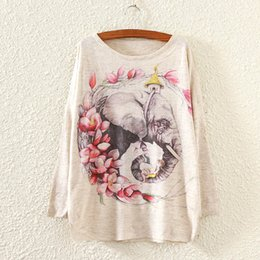 $enCountryForm.capitalKeyWord Canada - 2018 Hot Women Autumn Winter Long Batwing Sleeve Knitted Sweater Fashion Flower and Elephant Print Loose Pullover Knitwear Tops