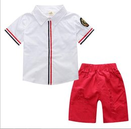 Chinese  2 color 2018 Korean style Summer new fashion new arrivals boys kids short sleeve flower printed shirt +shorts high quality two sets manufacturers