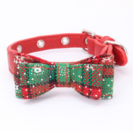 Pink Bells Dog Collars UK - Red Dog Collar With Bow Tie Snowflake Design Adjustable Pet Collars Cute Puppy Dog Necklace For Chihuahua Handmade Pet Supplies