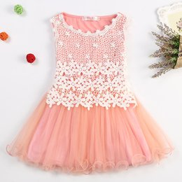 embroidered tutu Canada - 3-8 Summer New Lace Flowers Girls Dresses High Quality Child's Wear Toddler TuTu Girl Clothing Hollow Mesh Princess Kids Dress