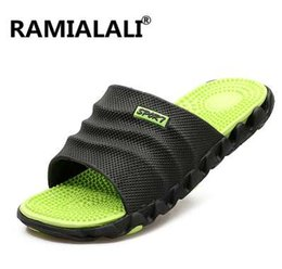 massage slippers sandals UK - Ramialali Summer Slippers Men Casual Sandals Leisure Soft Slides Eva Massage Beach Slippers Water Shoes Men's Sandals Flip Flop