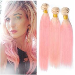 Silky Brazilian Human Hair Extensions Australia - Blonde and Pink Ombre Brazilian Virgin Human Hair Weave Bundles 3Pcs Silky Straight #613 Pink 2Tone Ombre Human Hair Wefts Extensions