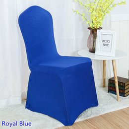 blue spandex chair Canada - spandex chair cover royal blue colour flat front lycra stretch banquet chair cover for wedding decoration wholesale on sale