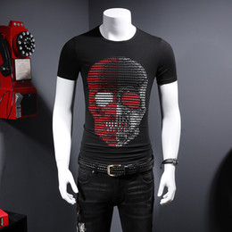 Discount social - 2018 summer men's domineering skull print high-grade compassionate leisure social mercerized cotton half-sleeved t-