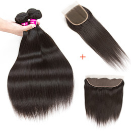 Chinese  10A Straight Brazilian Virgin Human Hair Weaves With Closure Unprocessed Brazilian Remy Human Hair Bundles And Lace Closures Extensions manufacturers