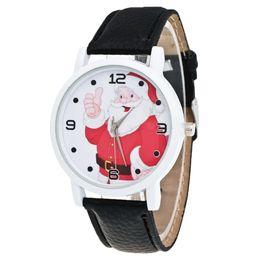 $enCountryForm.capitalKeyWord NZ - Best Quality Christmas Gift Lady Ladies Glass Mirror Watch Santa Claus Pattern Leather Strap clock xfcs Gift Dropshipping