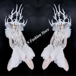 Discount glow party clothes - BC65 Christmas LED costumes mens dj dancer wears stage catwalks show clothes luminous headdress pants party glowing suit
