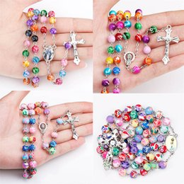 Pendant Clay NZ - Religious Jewelry 8mm Colorful Clay Beads Catholic Rosary Necklace Women Long Strand Necklaces Jesus Cross Pendant Jewelry Gift