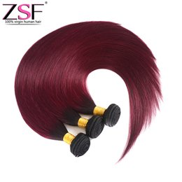 $enCountryForm.capitalKeyWord UK - ZSF 8A Grade Brazilian Human Hair 1b 99j Ombre Bundles Hair Extensions 3 Bundles Straight Ombre Braiding Hair