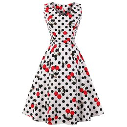 Wipalo Cherry Print Vintage Dress Women 2018 Summer Pin Up Dresses 50s  Rockbility Robe Plus Size A-Line Party Dress Vestidos Red Y1890805 f3cfed0ee278