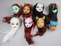 bjd hair accessories 2019 - Soft Plastic Practice Makeup Doll Heads For Monster High Doll BJD Doll's Practicing Makeup Monster Head With long H