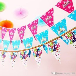 $enCountryForm.capitalKeyWord Canada - 1sets Happy birthday crown paper flag Kids birthday party Banner Flag hang Pennants Banner Decor Supplies flags party supplies