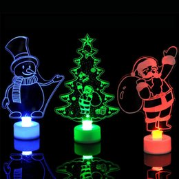 Christmas Tables Canada - 2018 Xmas LED Night light 3D Flashing Colorful table lamp Christmas tree Santa Claus snowman tower Party Decoration