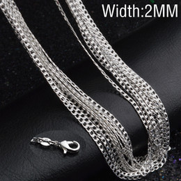 Chain 2mm sterling silver online shopping - 2MM sterling silver Side chains inches Silver Plated necklace For women female Fashion Jewelry
