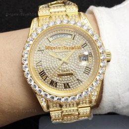 Gems diamond online shopping - Best Quality Full Big Diamond Watch Iced Out Watch ETA Automatic MM Gold Men Silver Waterproof Stainless Steel Set Diamond