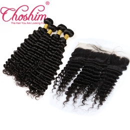 Wholesale Brazilian Deep Wave Hair Australia - Choshim Ear To Ear 13x4 Lace Frontal Closures With 3 4 Bundles Brazilian Peruvian Indian Malaysian Deep Wave Curly Remy Human Hair Weaves