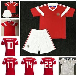 ef88f11f5 2018 world cup Russia Home away Soccer Jerseys 2018 Russian red Football  uniform  10 DZAGOEV  11 SMOLOV Adult Kids Soccer Jerseys