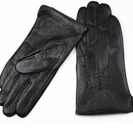 Men Gloves Leather Sheepskin Australia - Leather Gloves Male Sheepskin Straight Button Style Thin Velvet Lining Warm Fall Winter Men's leather split 2018 Free Shipping D18110705