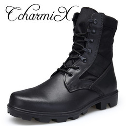 Discount swat shoes - CcharmiX Mens Boots Genuine Leather Waterproof Army Boots Men Combat Large Size Swat Shoes