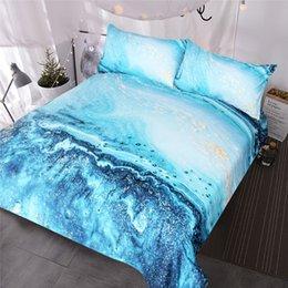 Set biancheria da letto ad acquerello Copripiumino dorato e blu Set Copripiumino oceano ondulato Copriletto stampato astratto in Offerta