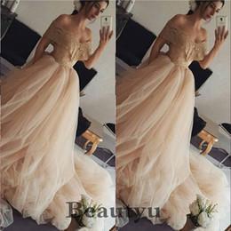 $enCountryForm.capitalKeyWord Australia - Champagne Lace Plus Size Wedding Dresses Off Shoulder A Line Tulle 2018 Arabic Vintage Country Beach Wedding Bridal Gowns Vestido de novia