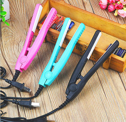 hair straightener mini style Australia - Mini Hair Straightener With Plug Converter Flat Ceramic Straight Hair Clip Curly Sticks Straightener Irons Professional Hair Styling Tool