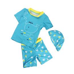 28242d6af566 Summer Vacation Beach Board Kids Boy Swimwear Suit Lovely Fish Print Shirt  Swim Trunk Cap Set Children Boy Swimsuit Bikinis