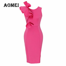 Ladies Body con Dress Tight Sleeveless 2018 new Ruffled Donna Slim Fashion Dinner Party Abiti O Neck Robe Femme Primavera Estate Fashion